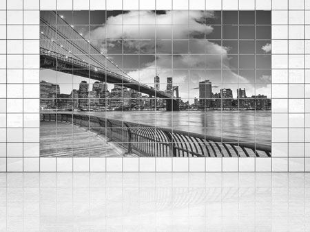 Fliesenbild Skyline Schwarzweissfotografie Brooklyn Bridge NY