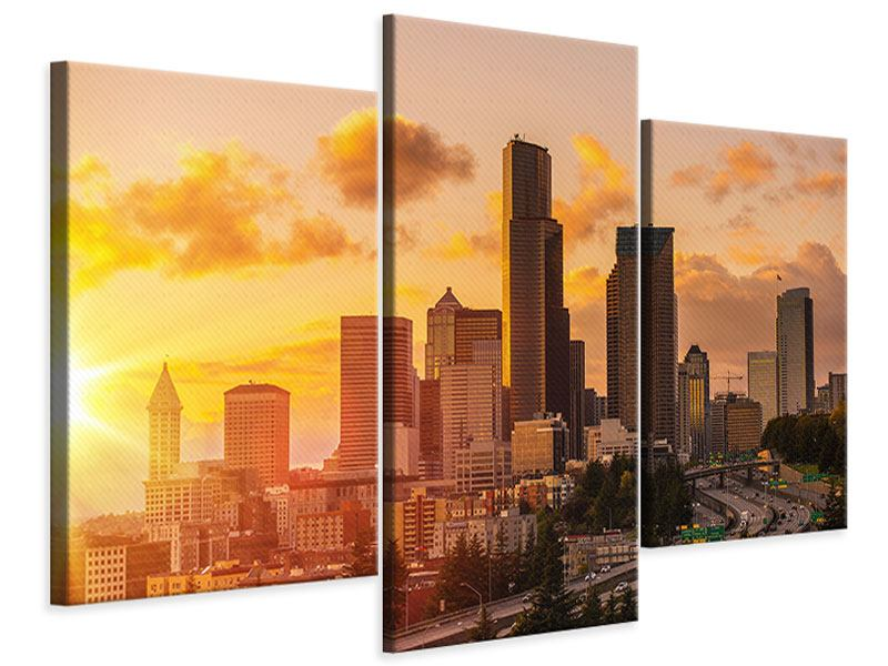 Leinwandbild 3-teilig modern Skyline Washington