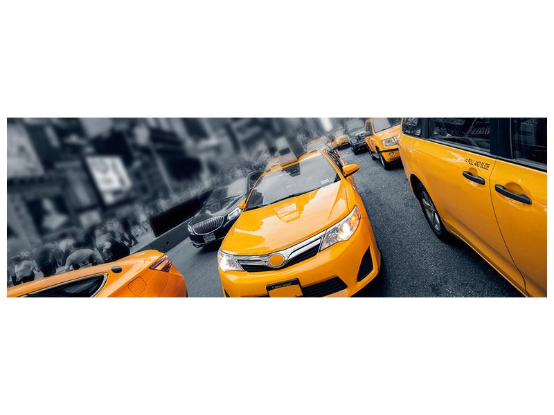 Metallic-Bild Panorama Taxi in NYC