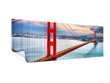 Poster Panorama Der Golden Gate Bridge bei Sonnenuntergang