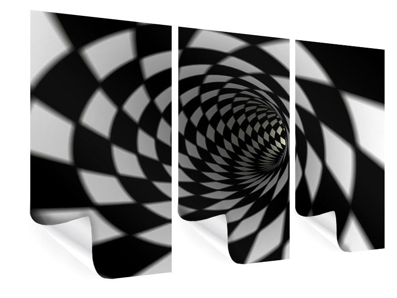 Poster 3-teilig Abstrakter Tunnel Black & White