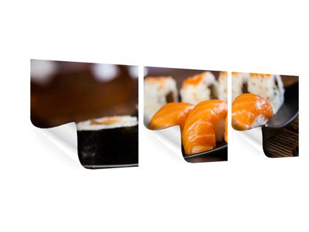 Panorama Poster 3-teilig Sushi-Gericht