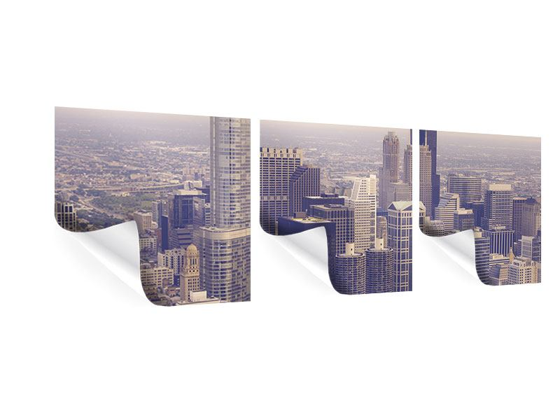 Panorama Poster 3-teilig Skyline Chicago in Sepia