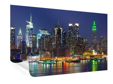 Poster Skyline New York Midtown bei Nacht