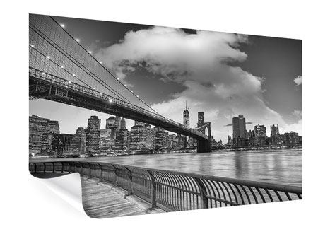 Poster Skyline Schwarzweissfotografie Brooklyn Bridge NY
