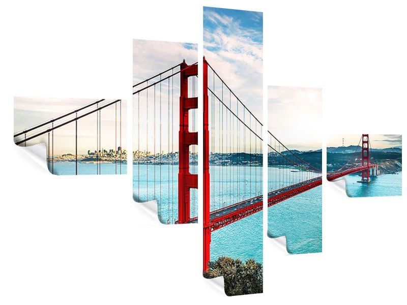 Poster 5-teilig modern Golden Gate Bridge