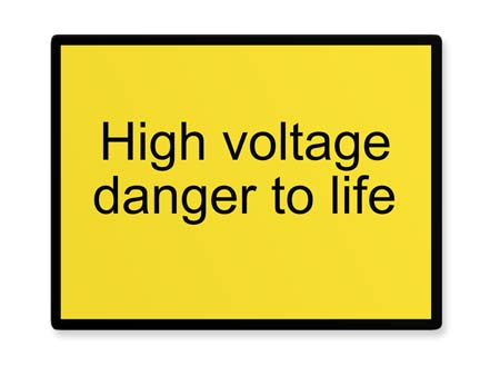 High voltage danger to life Warnschild Querformat
